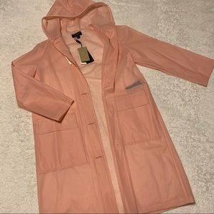 Burberry see-through sheer hooded raincoat pink